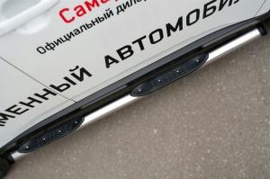 Mitsubishi Outlander 2014- Пороги труба d76 с накладкой (вариант 2) MORT-001897